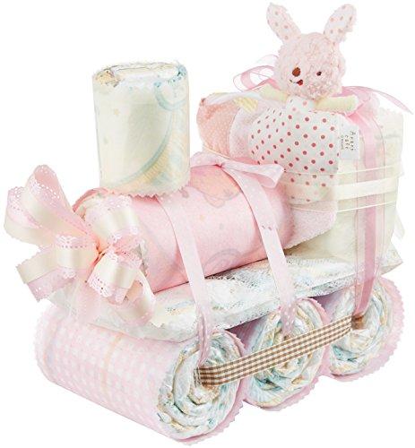 プチトレインのおむつケーキを友達の出産祝いに贈る