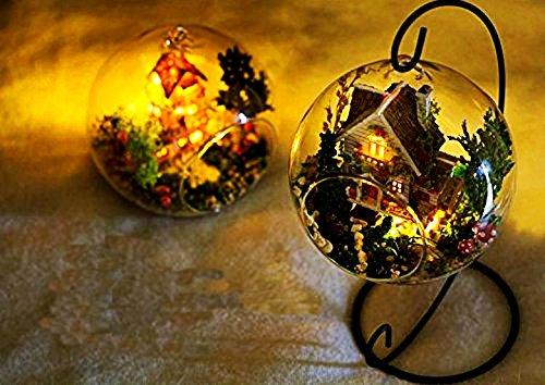 【Seacoon】 ミニチュア ドールハウス 素敵な 森の家 オシャレな 小屋 手作り ログハウス 山小屋 インテリア ガラス 球体 専用フック付き 組立 キット ハンドメイド (緑)