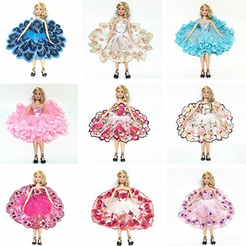 Liebeye バービー人形用 ドール用 ドレスセット おしゃれ バレリーナのスカート 花の刺繍ドレス 8セッ...