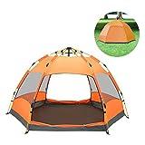 QZT テントワンタッチ 3~4人用 ドームテント折りたたみ 簡易テント 軽量 uvカット 紫外線 メッシュ 防水 キャンプ アウトドア レジャー バーベキュー 海 (オレンジ)