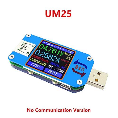 TenflyerUM25 UM25CタイプC LCD電圧計電流計バッテリー充電ケーブル抵抗テスター、APP USB 2.0、マルチメーター充電モニターテスター、検出器パネル電圧計