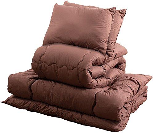 【おうちで洗える布団セット】ほこりの出にくい寝具セット 洗える 組布団セット なめらかピーチスキン加工 アレルギー対策 収納袋付き ダブル ブラウン