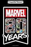 Composition Notebook: Marvel 80 Years of Comics Anniversary Black  Journal/Notebook Blank Lined Ruled 6x9 100 Pages
