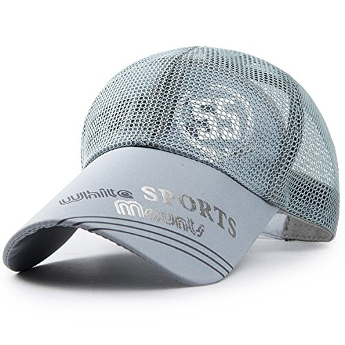 baby-mine (ベイビーマイン) メッシュ キャップ ロゴ カジュアル つば長 野球帽 帽子 アウトドア 釣り ゴルフ 通気性 メンズ (グレー)