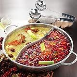 鴨鍋の厚さのステンレス鋼 鍋 ポット 炊飯器 特別なポット 仕切り付鍋 仕切り鍋 二つの味が楽しめる 二食鍋 両手鍋 2種類の鍋を同時に調理可能 30cm