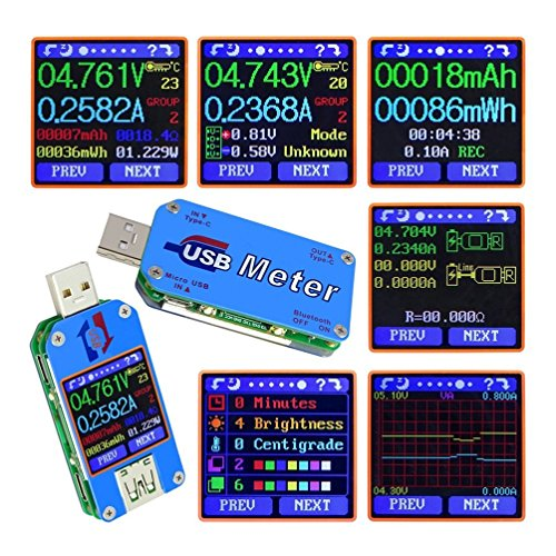 UM24C UM25C USB電圧電流テスター USB 2.0 カラーLCDディスプレイテスター 電圧計 電流計 マルチマーター バッテリー 充電器 ケーブル インピーダンス測定 容量テスター 非通信バージョン