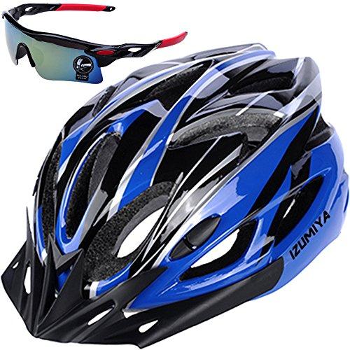 IZUMIYA 自転車 ヘルメット 超軽量 高剛性 サイクリング 大人用 ロードバイク クロスバイク 通勤 サングラス セット (ブラック×ブルー)