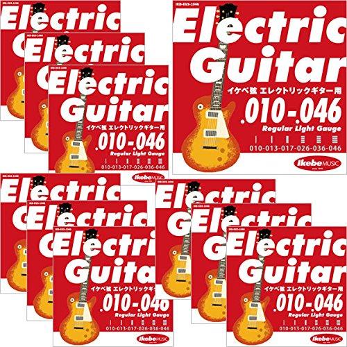 "Ikebe Original Electric Guitar Strings ""イケベ弦 エレキギター用 010-046"" [Regular Light Gauge/IKB-EGS-1046]×10セット 【199円~】安いエレキギター弦特集! 値段を気にせず常に新しい弦で練習できるおすすめ格安・激安弦!レビュー・感想【6弦、7弦、コーティング弦】"