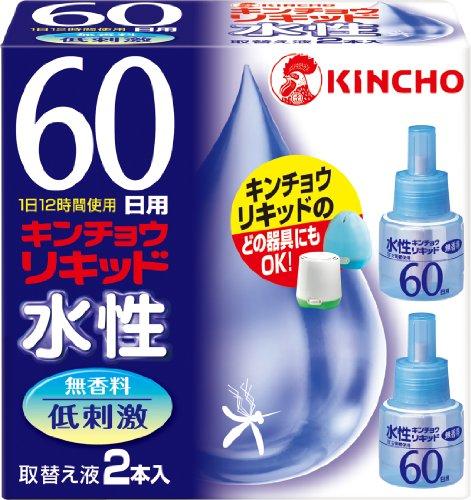 水性キンチョウリキッド コード式 蚊取り器 60日 取替液 2本入 無香料 低刺激
