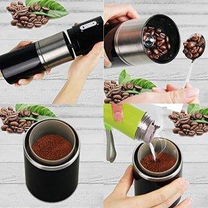 ポータブルコーヒー ミル Madoats USB 充電式 電動 コーヒー グラインダー セラミックコーヒーミル,フィルタ,ステンレス鋼コーヒーカップ 一体式 自動コーヒーメーカー (ブラック)