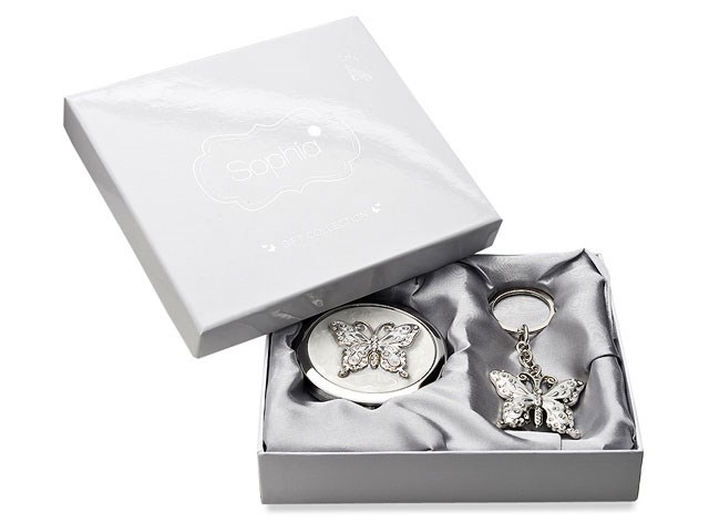 Sophia Damen Set Kompaktspiegel Schlüsselanhänger Versilbert