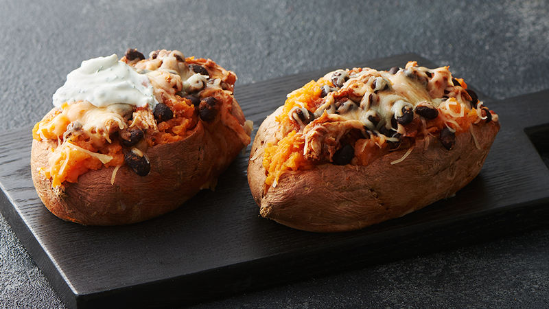 microwave stuffed sweet potatoes with chicken and black beans