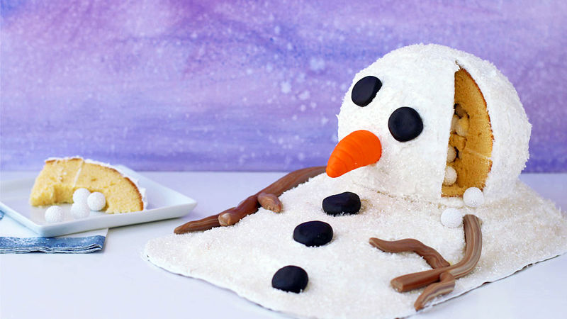 Melting Snowman Surprise Cake Recipe Tablespoon Com