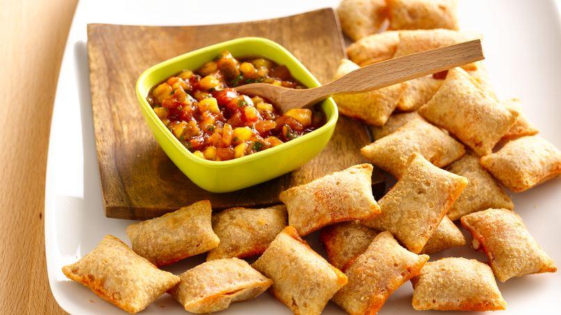 Receta de Salsa de Mango y Pizza Rolls de Preparacin