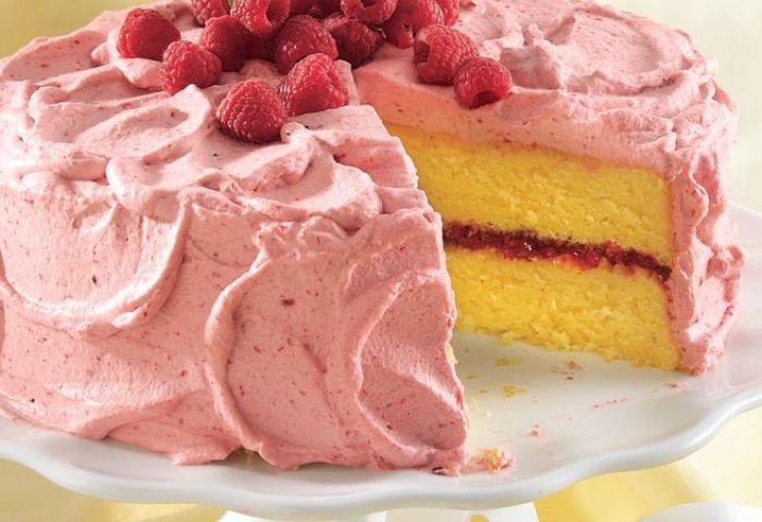 Lemon Cake With Raspberry Mousse Recipe Bettycrockercom