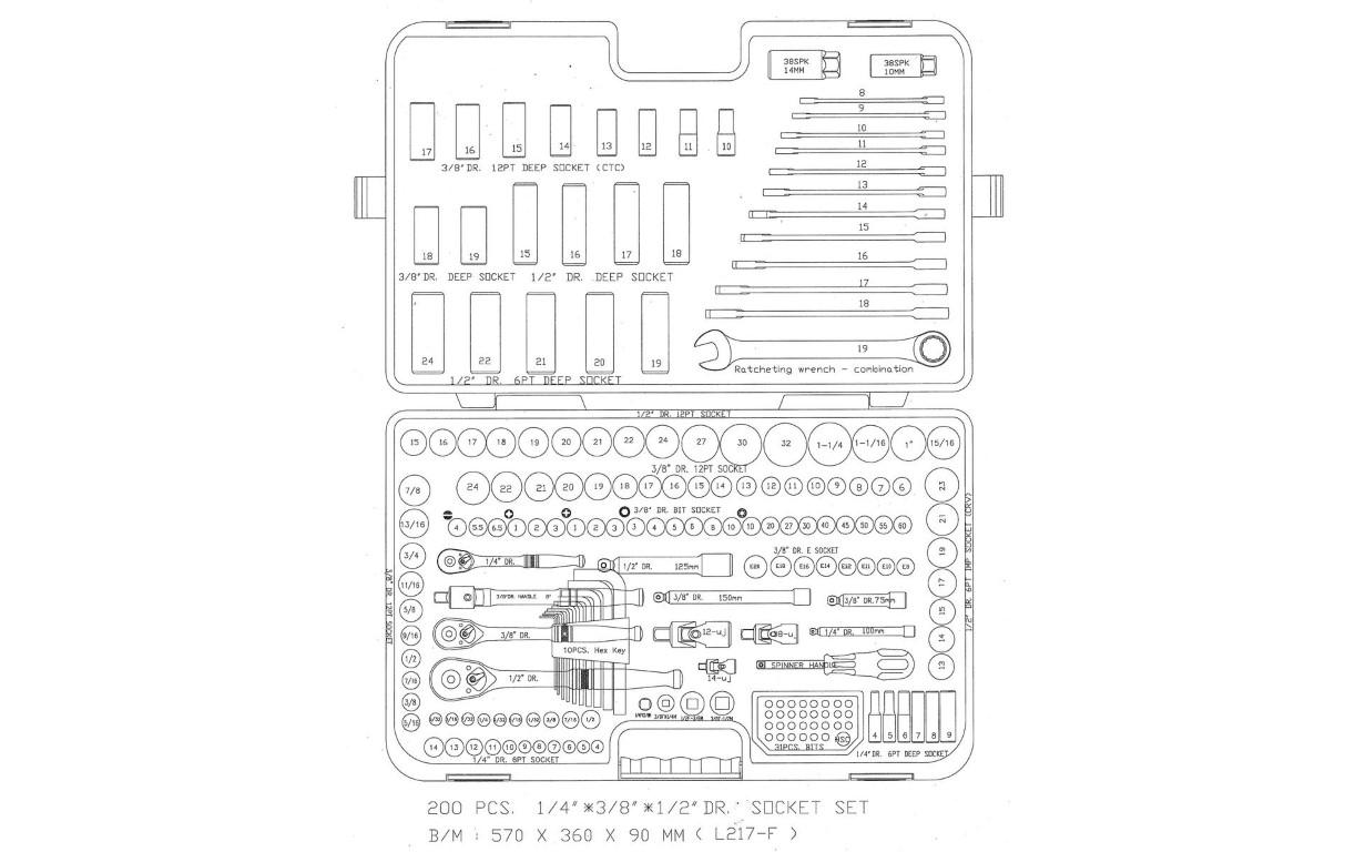 Halfords Advanced 200 Steel Piece Socket & Ratchet Spanner