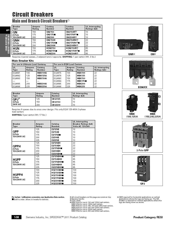 Siemens QN2175H 175A Double Pole 120/240-Volt 22K type QNH