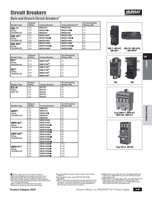Murray MPD2200R 10 kaic rated 200-Amp Plug In Breaker