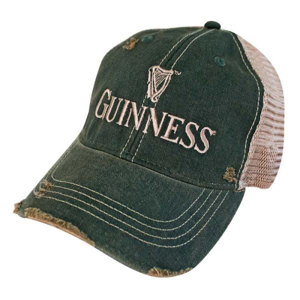 Guinness Distressed Retro Brand Men' Green Trucker Hat