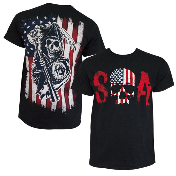 Sons Of Anarchy Men' Black American Flag T-shirt