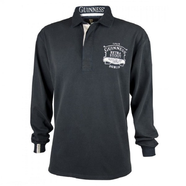 Guinness Blacked Washed Long Sleeve Rugby Jersey