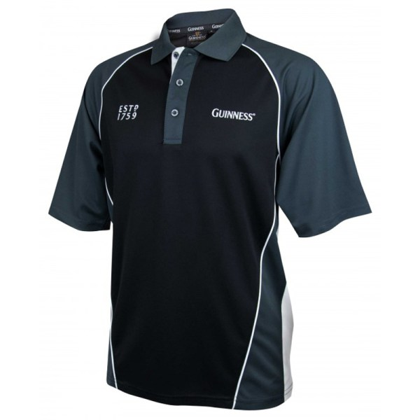 Guinness Black And Grey Performance Golf Shirt