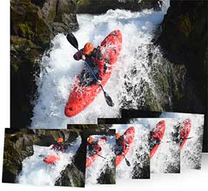 Photo of a kayaker on a waterfall inset with five continuous sequence images of the kayaker showing speed at 5 FPS