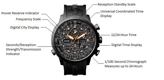 CITIZEN Navihawk A T image1 Light-powered watch with orange accents featuring multi-function chronographs, luminous markers, and digital information displays 48 millimeter stainless steel case with Anti-Reflective Mineral Crystal Japanese quartz movement with analog display