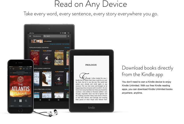 Read anywhere: Download books directly from the Kindle app. You don't need to own a Kindle device to enjoy Kindle Unlimited.
