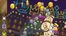 Side-scrolling action for coins in 'Wario Land: Shake It!'