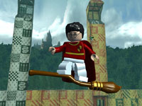 Harry flying high on a Quidditch broom in LEGO Harry Potter: Years 1-4