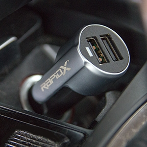 Xscape Dual USB Car Charger with Safety Hammer and Seatbelt Cutter by RapidX 9