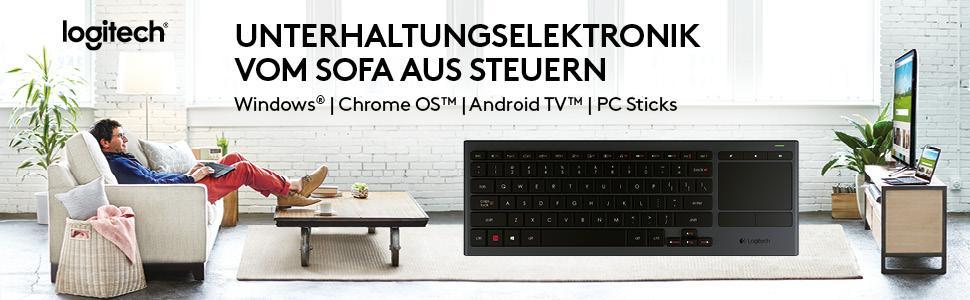 Unterhaltungselektronik vom Sofa aus steuern mit der Logitech K830 Tastatur