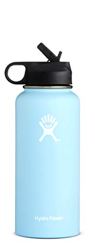 Hydro Flask 32 oz Water Bottle | Stainless Steel & Vacuum Insulated | Wide Mouth with Straw Lid | Frost
