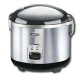 Oster 4724 10-Cup uncooked resulting in 20-Cup cooked Rice Cooker, Stainless Steel, White/Black