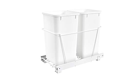 Rev-A-Shelf - RV-15PB-2 S - Double 27 Qt. Pull-Out White Waste Containers with Full-Extension Slides