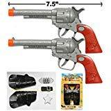 2 (TWO) COWBOY GUN TOY PISTOL REVOLVER WILD WEST PLAY SET BADGE BELT HOLSTER SILVER