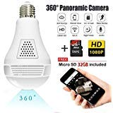 Light Bulb Camera,Include 16GB Card 1080P WiFi Security Camera, 2MP Wireles IP LED Cam,360 Degrees Panoramic VR Indoor/Outdoor Home Surveillance Cameras,Motion Detection/Night Vision/Alarm