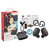 Motorola SH015 Stream True Wireless 'HD' Headset 'Water-Dust Resistant' Bluetooth With Charging Case - Car Charger/3FT USB & Ear Gel -Hook (Retail Packing Kit)