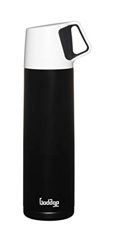 GODAGE Stainless Steel Double Wall Coffee Thermos | Vacuum Bottle | Amazing Temperature Retention Effect | Hot & Cold | Leak & Sweat Proof | Built-in Cup | 17 Ounce (500ml) | BPA Free (Black)