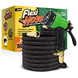 Flexi Hose Upgraded Expandable Garden Hose, Extra Strength, 3/4' Solid Brass Fittings - The Ultimate No-Kink Flexible Water Hose, 8 Function Spray Included (Black)