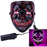 Roolina Halloween Mask LED Light up Purge Mask for Festivals, Halloween Costume, Rave, Festivals, and Cosplay (Pink)