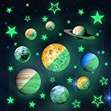 Cool Bank Extraíble Brilla en la Oscuridad Pegatinas de Pared, 36pcs Planet