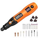 Tacklife PCG01B 3.7V Li-on Cordless Rotary Tool - Three-Speed with 31-Piece Rotary accessory Kit, USB Charging Cable, Collet Size 3/32-inch(2.3mm) - Perfect for Small Light Jobs