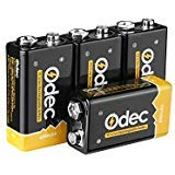 Odec 9V Rechargeable Batteries, 4 Pack 600mAh lithium