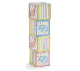 Whimsical Giraffe and Elephant Animal Vase with Stacked Block Design Baby Nursery or Baby Shower Decoration