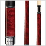 Players Pool Cue C-960 Classic Crimson Birds-Eye Maple with Triple Silver Rings
