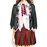 Bslingerie Women Zombie High School Uniform Skirt Costume Set (XL, School Uniform)