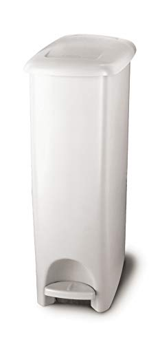 Rubbermaid Step-On Lid Slim Trash Can for Home, Kitchen, and Bathroom Garbage, 11.25 Gallon, White