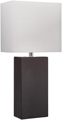 "Elegant Designs LT1025-BLK Genuine Leather Table Lamp, 10"" x 6"" x 21"", Black"